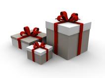 Huidige 3d de giftdoos van Kerstmis Stock Afbeeldingen