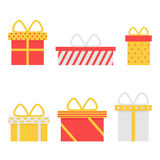 Huidige doos geïsoleerde pictogrammen op witte achtergrond Royalty-vrije Stock Afbeelding