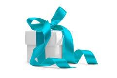 Huidige doos met blauw lint Royalty-vrije Stock Afbeelding