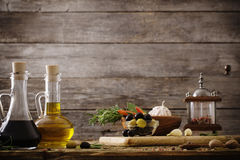 huile d'olive assaisonnée avec des épices Image libre de droits