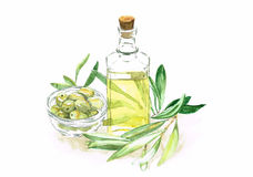 Huile d'olive d'aquarelle, avec les olives vertes dans la bouteille Photo libre de droits