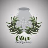Huile d'olive dans le pot et la brindille de l'olive Photo libre de droits