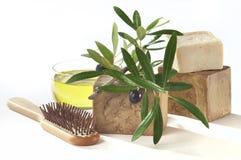 Huile d'olive de savon de bain images stock