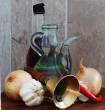 Huile d'olive, vinaigre Photographie stock