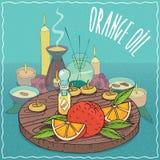 Huile d'oranges utilisée pour l'aromatherapy Photos libres de droits