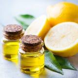 Huile de citron essentielle organique avec les feuilles et le fruit de vert Photographie stock libre de droits