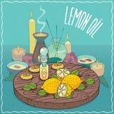 Huile de citron utilisée pour l'aromatherapy Photos stock