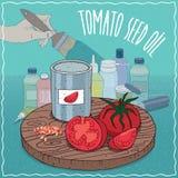 Huile de graines de tomate utilisée pour la fabrication de peinture illustration de vecteur