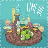 Huile de limon utilisée pour l'aromatherapy Images libres de droits