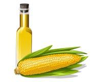 huile de maïs avec l'épi de maïs Images stock
