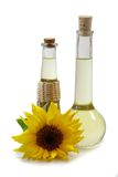 Huile de tournesol dans des bouteilles Photos stock