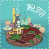 Huile du beurre de cacao utilisée pour l'aromatherapy illustration libre de droits