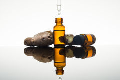 Huile essentielle de gingembre dans la bouteille ambre avec la racine et le compte-gouttes de gingembre photo stock