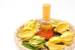 Huile essentielle de ylang-ylang avec des fleurs d'isolement images libres de droits