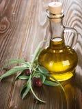 Huile et branche d'olivier d'olive Photo stock