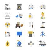 Huile et icônes plates de couleur Image libre de droits