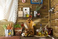Huile et légumes d'olive vierges supplémentaires Photos stock