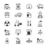 Huile et ligne d'icônes d'Industy Image stock