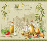 Huile et olives d'olive contre le paysage illustration stock