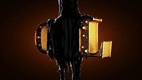 Huile noire sur le mot d'huile d'or Alpha emmêlé illustration de vecteur