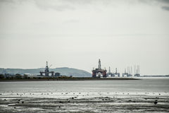 Huile semi submersible Rig Field en mer entre Inverness Invergordon Ecosse 2 Photos stock