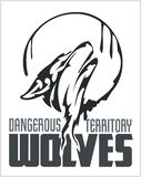 Huilend Wolfsembleem - gevaarlijk grondgebied stock illustratie
