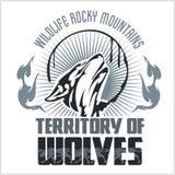 Huilend Wolfsembleem - gevaarlijk grondgebied vector illustratie