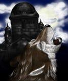 Huilende wolf Royalty-vrije Stock Afbeeldingen