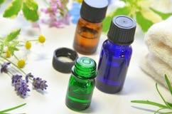 Huiles d'Aromatherapy avec des herbes images libres de droits