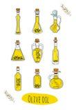 9 huiles d'olive d'isolement de griffonnage dans des bouteilles mignonnes Photos stock