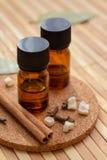 Huiles essentielles avec des épices pour l'aromatherapy Images libres de droits