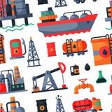 Huilez l'extraction de pétrole traitant le gaz combustible de raffinerie d'industrie de récupération de transport forant le vecte illustration stock