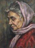 Huilez le portrait d'une grand-mère avec son écharpe Photographie stock