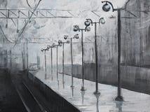 Huilez le tableau peint avec la station de train pluvieuse Image stock