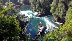 Huilo Huilos flod - Chile Arkivbild