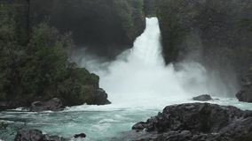 Huilo Huilo Waterfall, Chile. Huilo-Huilo waterfall, located in the Huilo-Huilo Biological Reserve in southern Chile`s Lakes District stock video footage