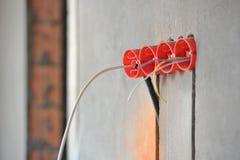 Huis in aanbouw en reparatie thuis. Elektriciteit. Stock Afbeelding