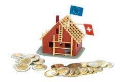 De omzetting van de lening van Zwitserse Franken in Euro Stock Afbeelding