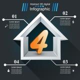 Huis abstract 3d pictogram Zaken Infographic 3d pictogram vier Vector Illustratie