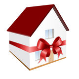 Huis als gift (vector incl) Royalty-vrije Stock Foto's