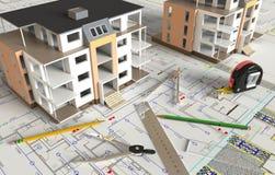 Huis Architecturale Tekening en Lay-out Royalty-vrije Stock Fotografie