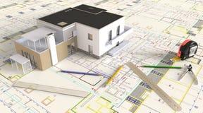 Huis Architecturale Tekening en Lay-out Stock Afbeeldingen