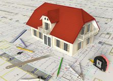 Huis Architecturale Tekening en Lay-out Stock Foto