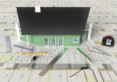 Huis Architecturale Tekening en Lay-out Royalty-vrije Stock Foto