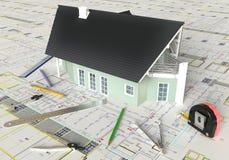Huis Architecturale Tekening en Lay-out Royalty-vrije Stock Afbeeldingen