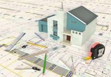 Huis Architecturale Tekening en Lay-out Stock Fotografie