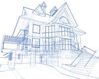 Huis - architectuurblauwdruk Stock Afbeelding