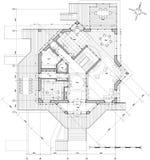 Huis - architectuurplan Royalty-vrije Stock Foto
