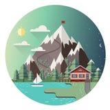 Huis in bergen Kleurrijke vectorachtergrond Stock Foto's