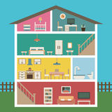 Huis in besnoeiing Gedetailleerd modern huisbinnenland Stock Foto's